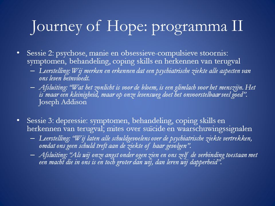 Journey of Hope: programma II