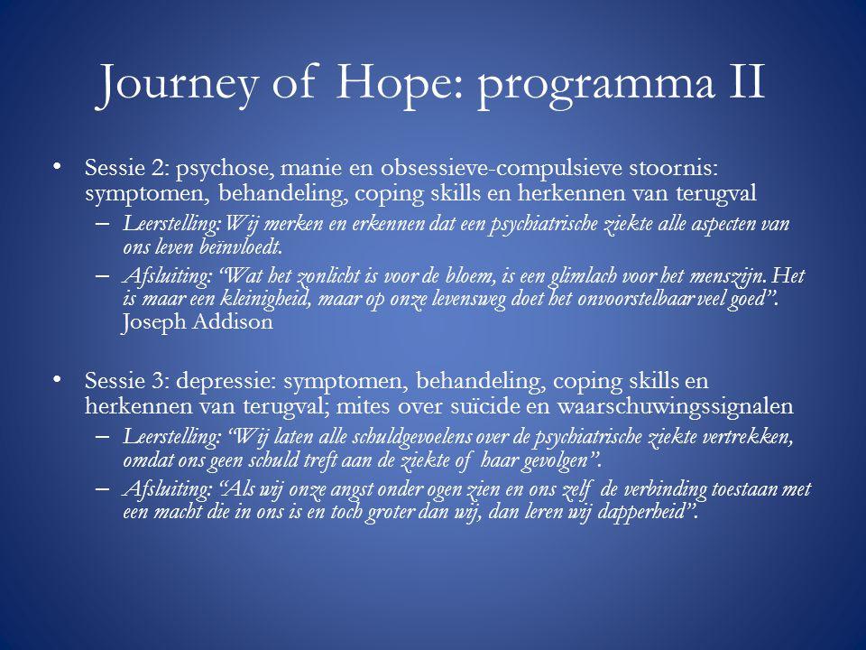 Journey of Hope: programma II