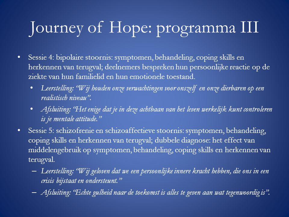 Journey of Hope: programma III