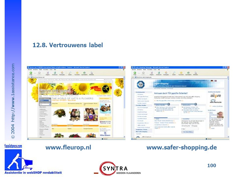 12.8. Vertrouwens label www.fleurop.nl www.safer-shopping.de