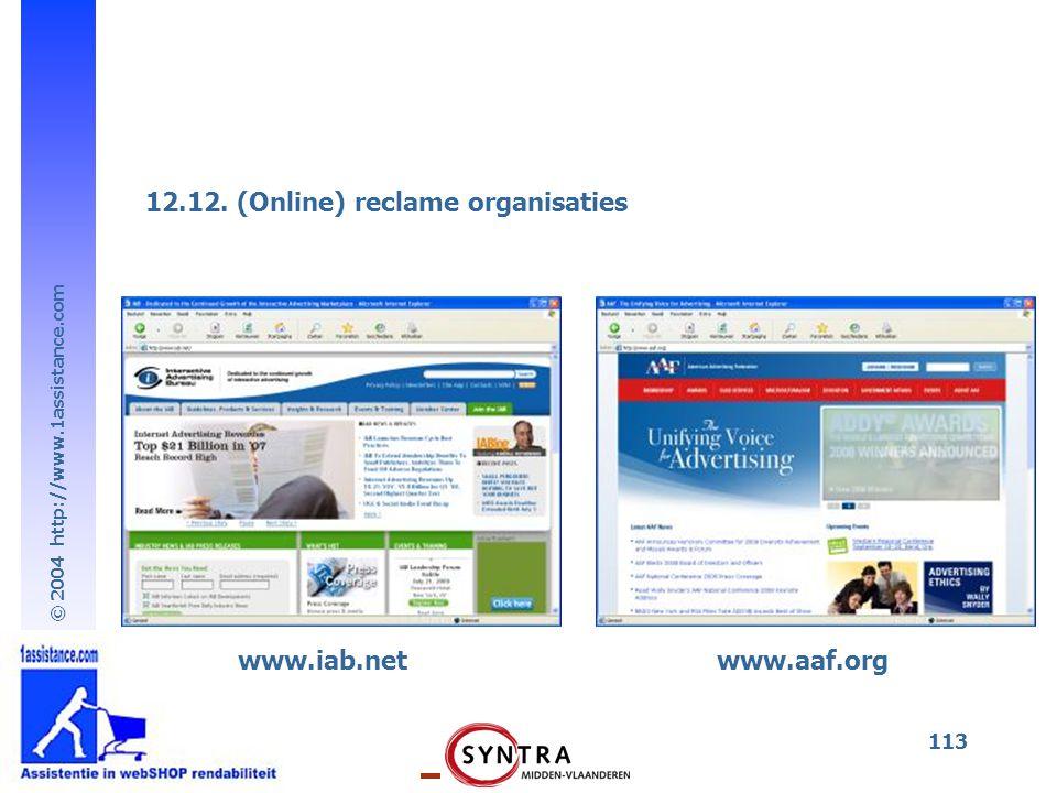 12.12. (Online) reclame organisaties