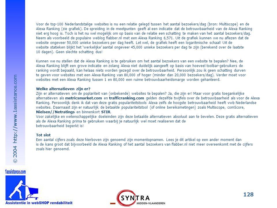 Voor de top-100 Nederlandstalige websites is nu een relatie gelegd tussen het aantal bezoekers/dag (bron: Multiscope) en de