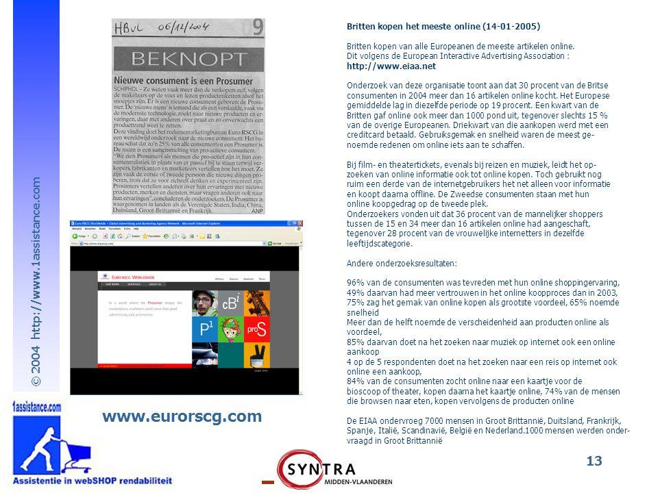www.eurorscg.com Britten kopen het meeste online (14-01-2005)