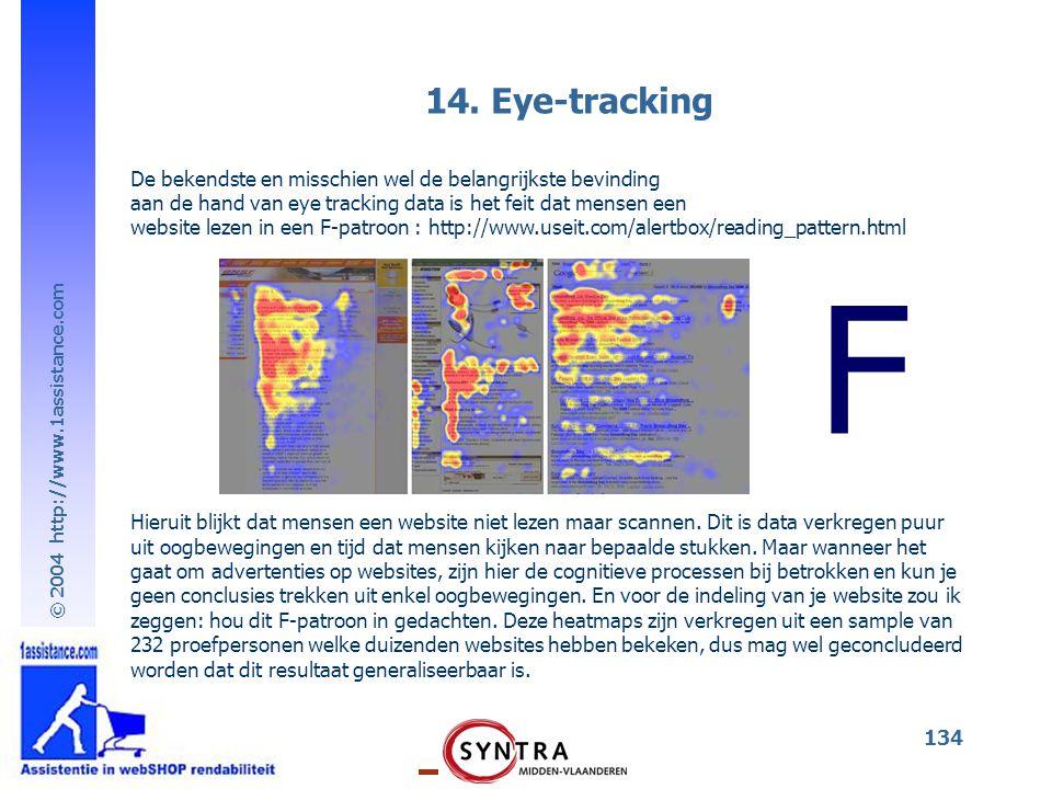 14. Eye-tracking De bekendste en misschien wel de belangrijkste bevinding. aan de hand van eye tracking data is het feit dat mensen een.