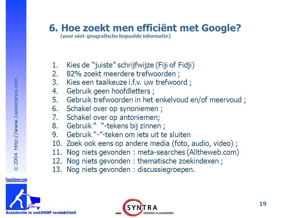 6. Hoe zoekt men efficiënt met Google