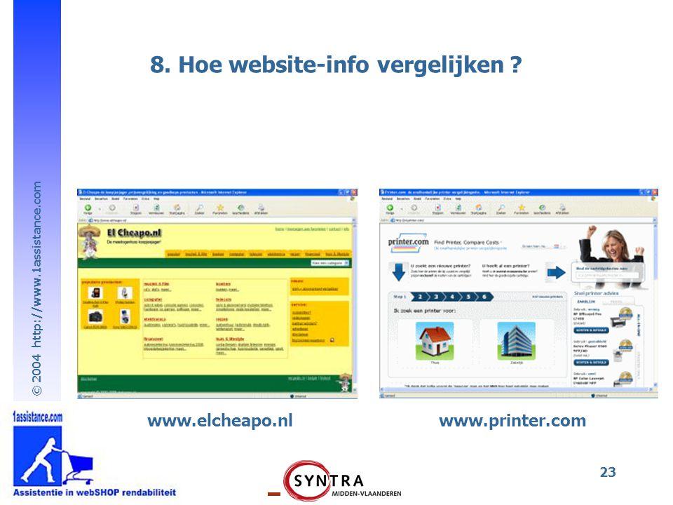 8. Hoe website-info vergelijken