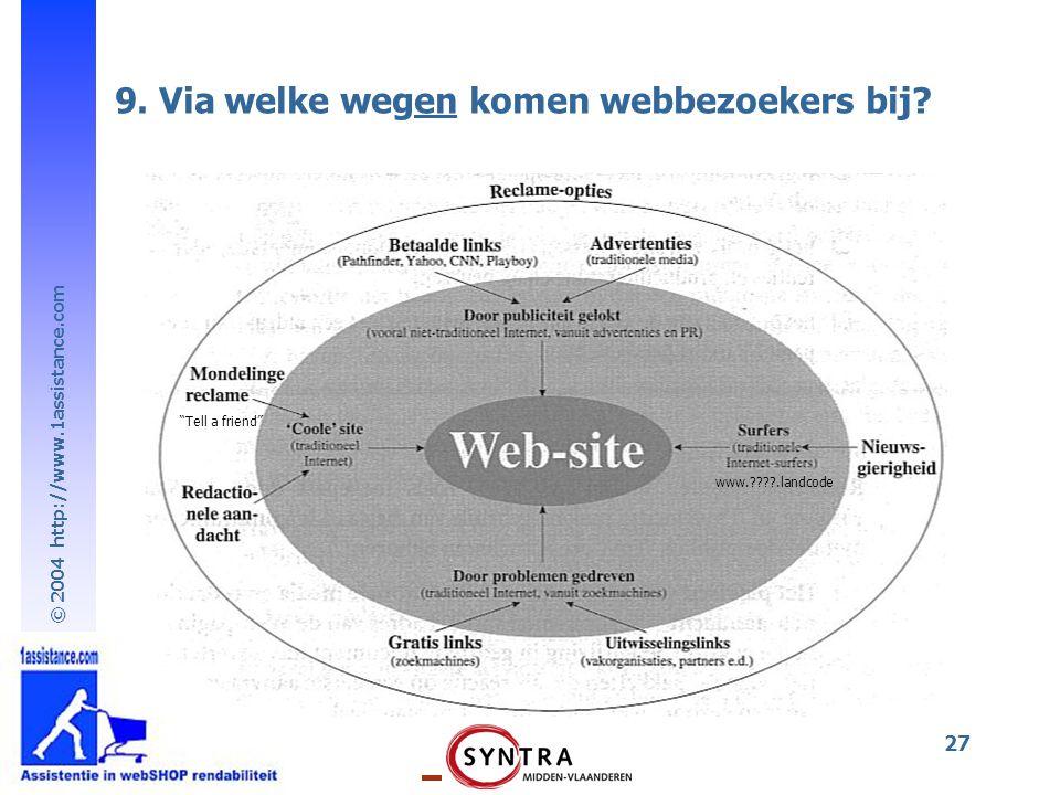 9. Via welke wegen komen webbezoekers bij