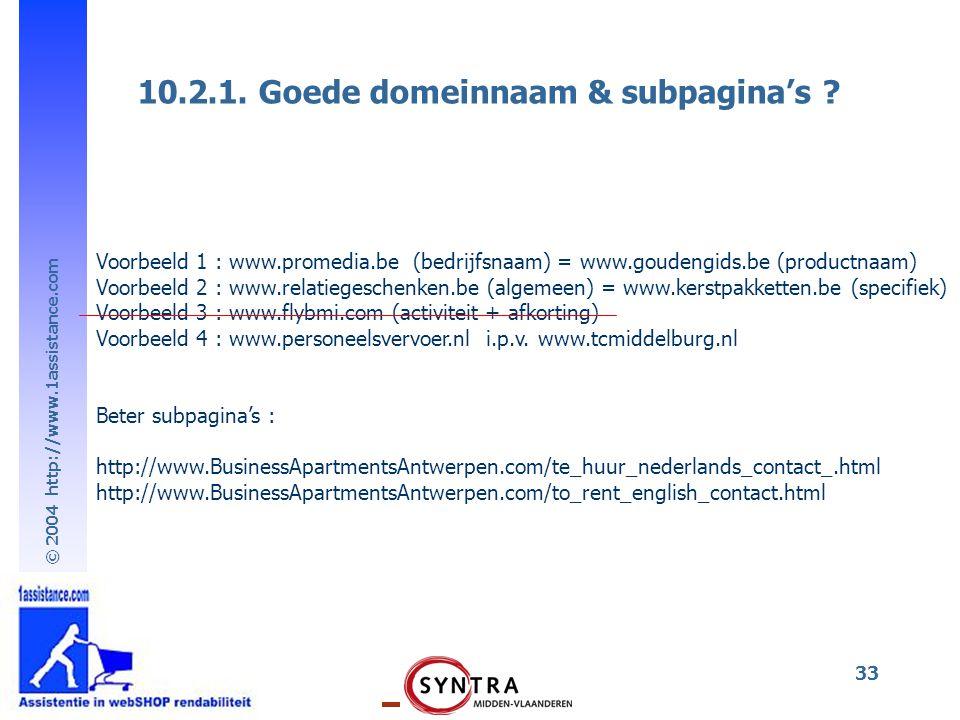 10.2.1. Goede domeinnaam & subpagina's