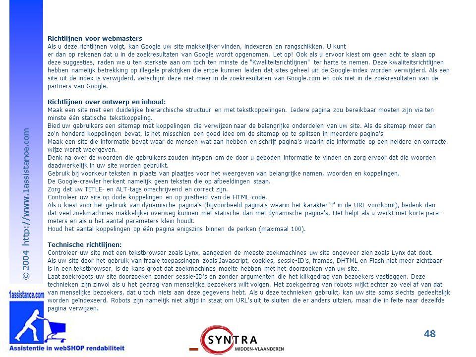 Richtlijnen voor webmasters