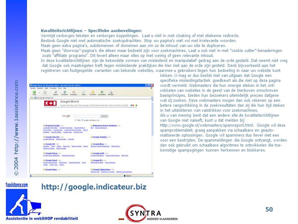 Kwaliteitsrichtlijnen – Specifieke aanbevelingen: