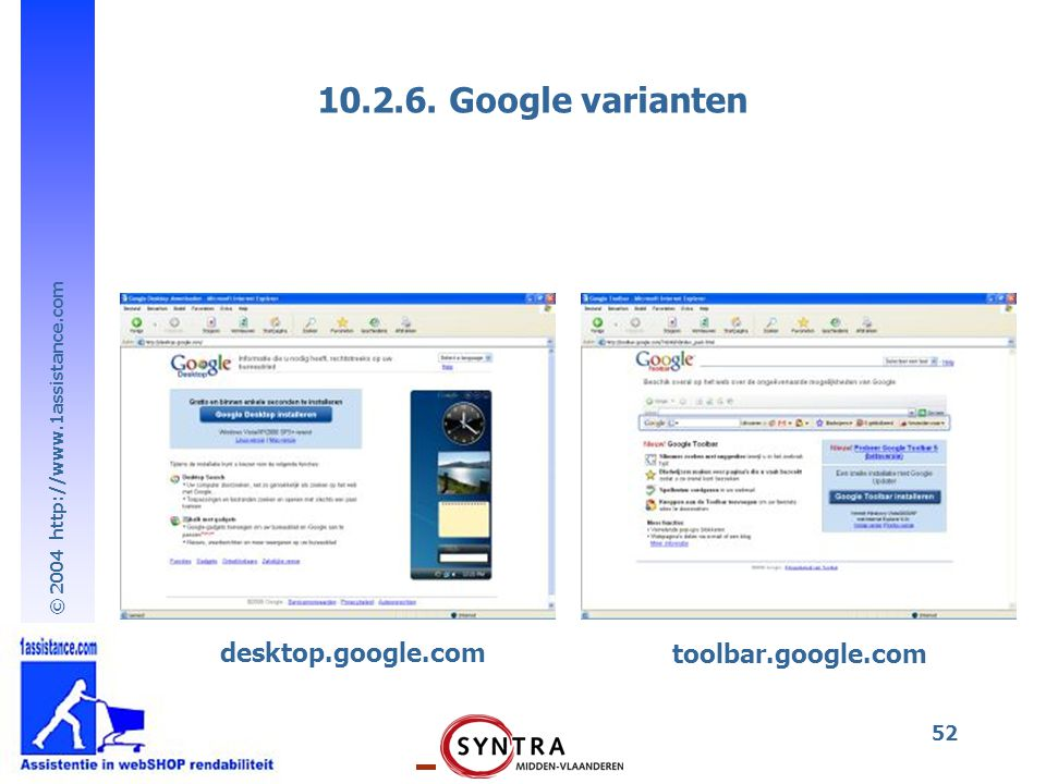 10.2.6. Google varianten desktop.google.com toolbar.google.com
