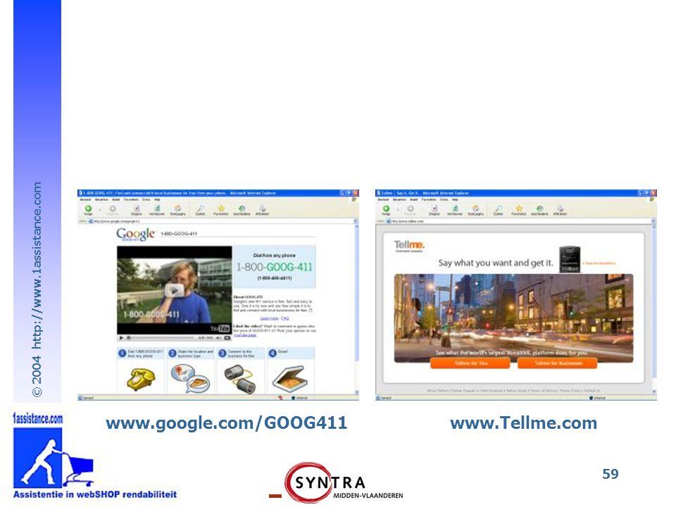 www.google.com/GOOG411 www.Tellme.com