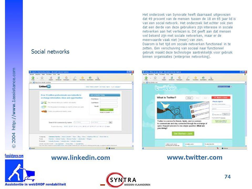 www.linkedin.com www.twitter.com Social networks