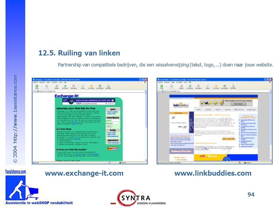 12.5. Ruiling van linken www.exchange-it.com www.linkbuddies.com