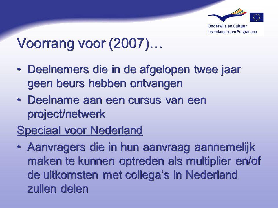 4-4-2017 Voorrang voor (2007)… Deelnemers die in de afgelopen twee jaar geen beurs hebben ontvangen.