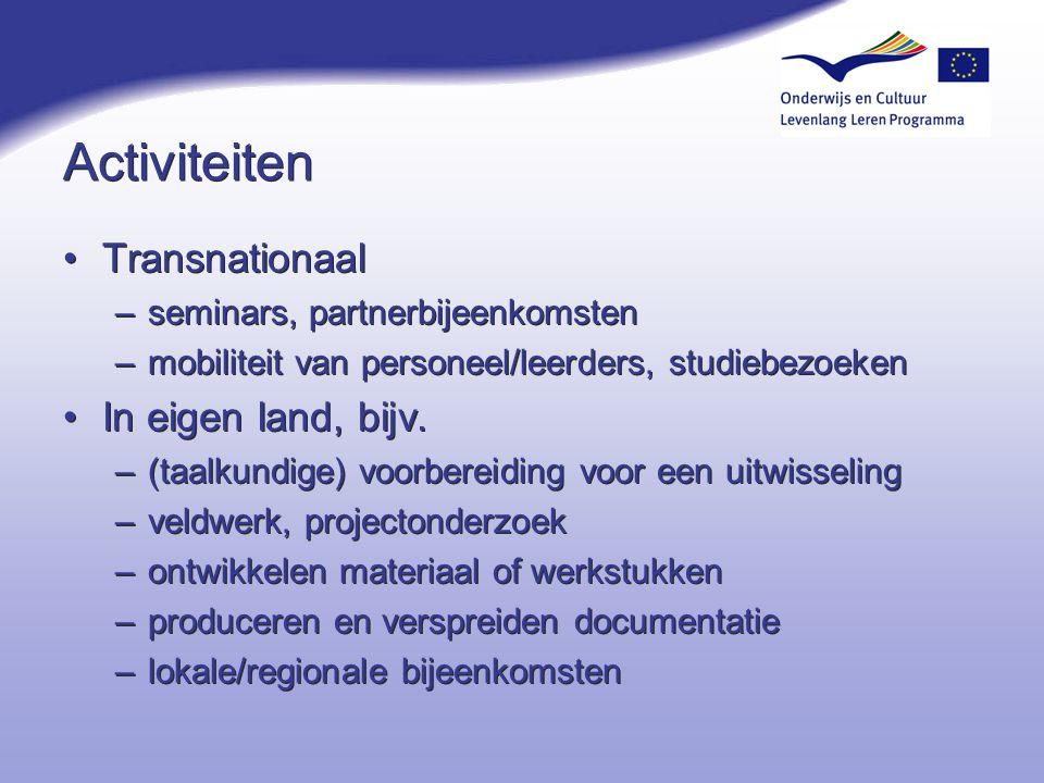 Activiteiten Transnationaal In eigen land, bijv.