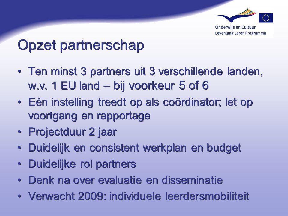 4-4-2017 Opzet partnerschap. Ten minst 3 partners uit 3 verschillende landen, w.v. 1 EU land – bij voorkeur 5 of 6.
