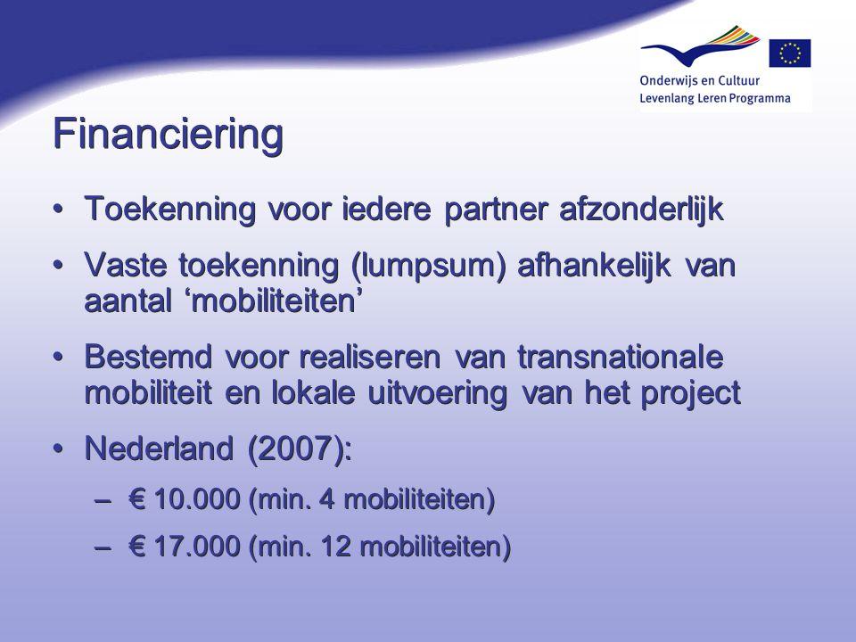 Financiering Toekenning voor iedere partner afzonderlijk