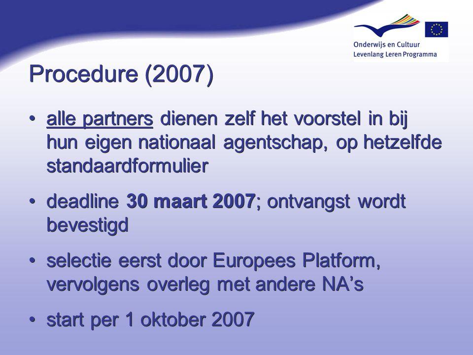 4-4-2017 Procedure (2007) alle partners dienen zelf het voorstel in bij hun eigen nationaal agentschap, op hetzelfde standaardformulier.