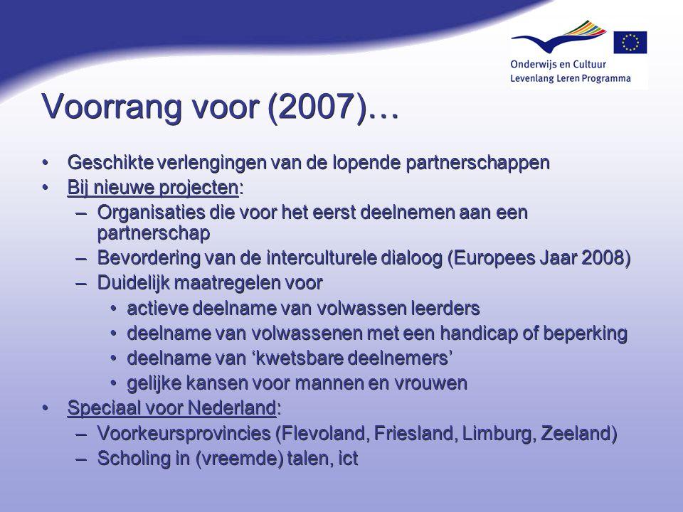 4-4-2017 Voorrang voor (2007)… Geschikte verlengingen van de lopende partnerschappen. Bij nieuwe projecten:
