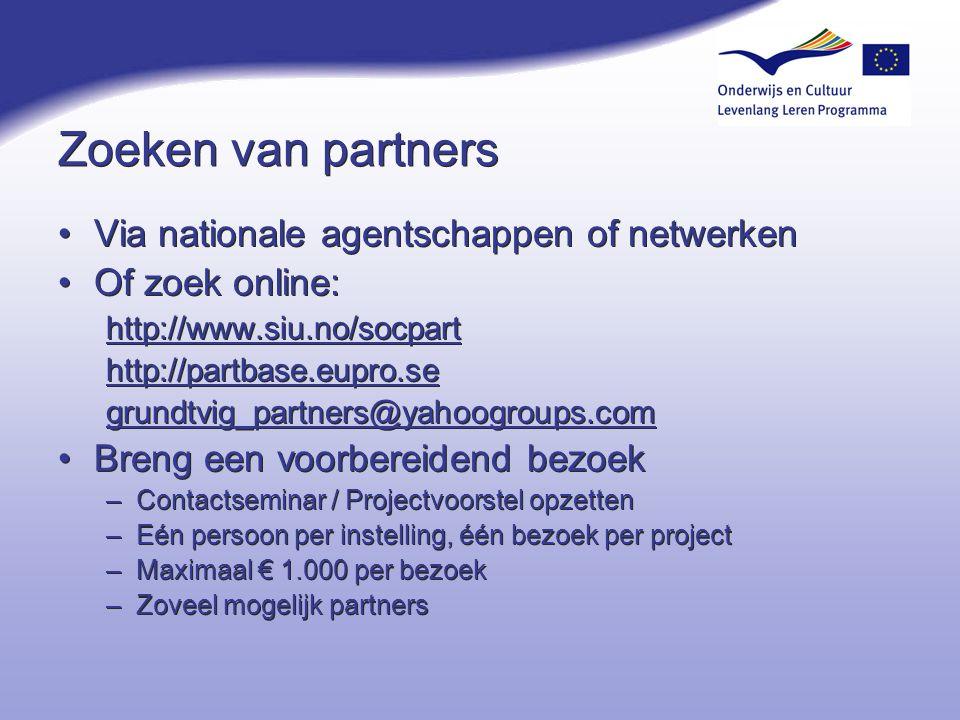 Zoeken van partners Via nationale agentschappen of netwerken