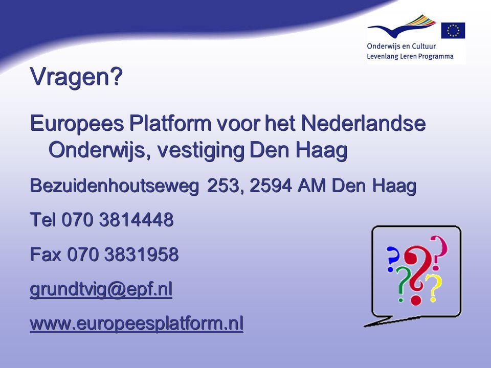 4-4-2017 Vragen Europees Platform voor het Nederlandse Onderwijs, vestiging Den Haag. Bezuidenhoutseweg 253, 2594 AM Den Haag.