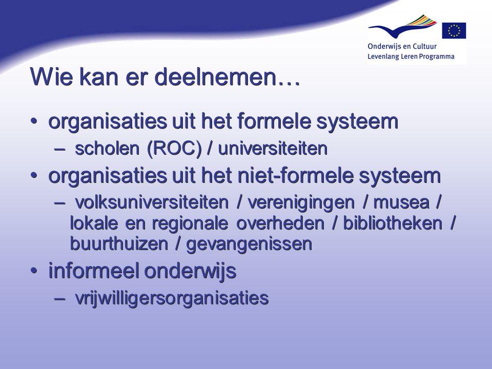 Wie kan er deelnemen… organisaties uit het formele systeem