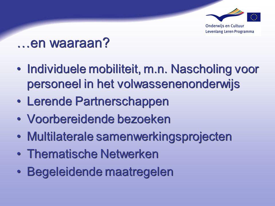 4-4-2017 …en waaraan Individuele mobiliteit, m.n. Nascholing voor personeel in het volwassenenonderwijs.