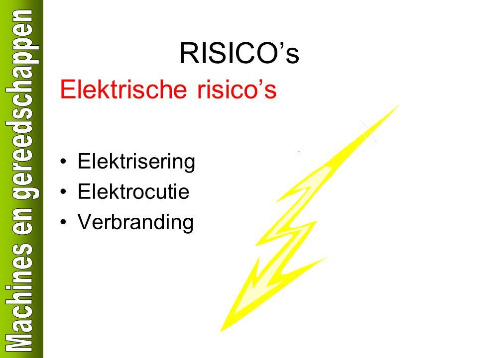 RISICO's Elektrische risico's Elektrisering Elektrocutie Verbranding