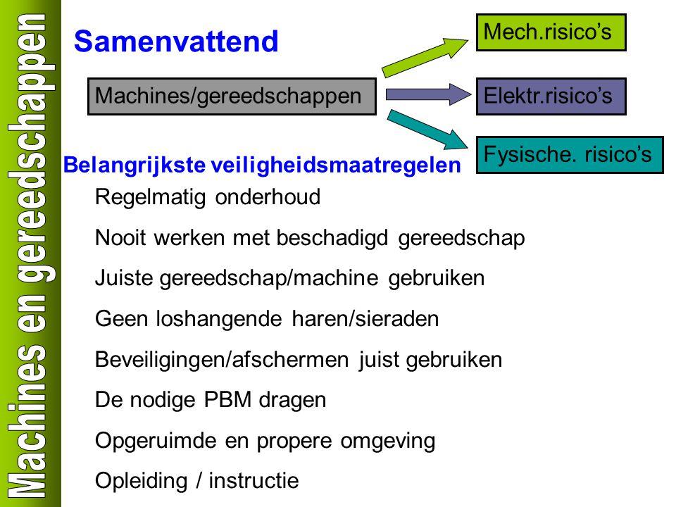 Samenvattend Mech.risico's Machines/gereedschappen Elektr.risico's