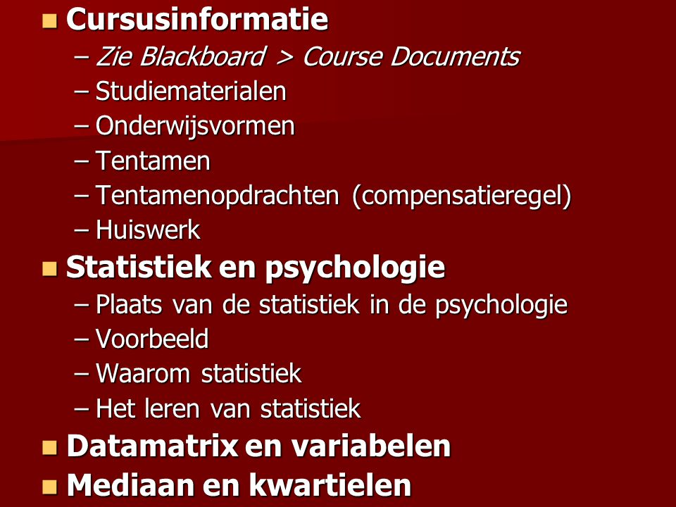 Statistiek en psychologie