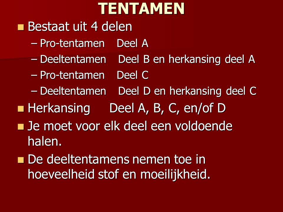 TENTAMEN Bestaat uit 4 delen Herkansing Deel A, B, C, en/of D