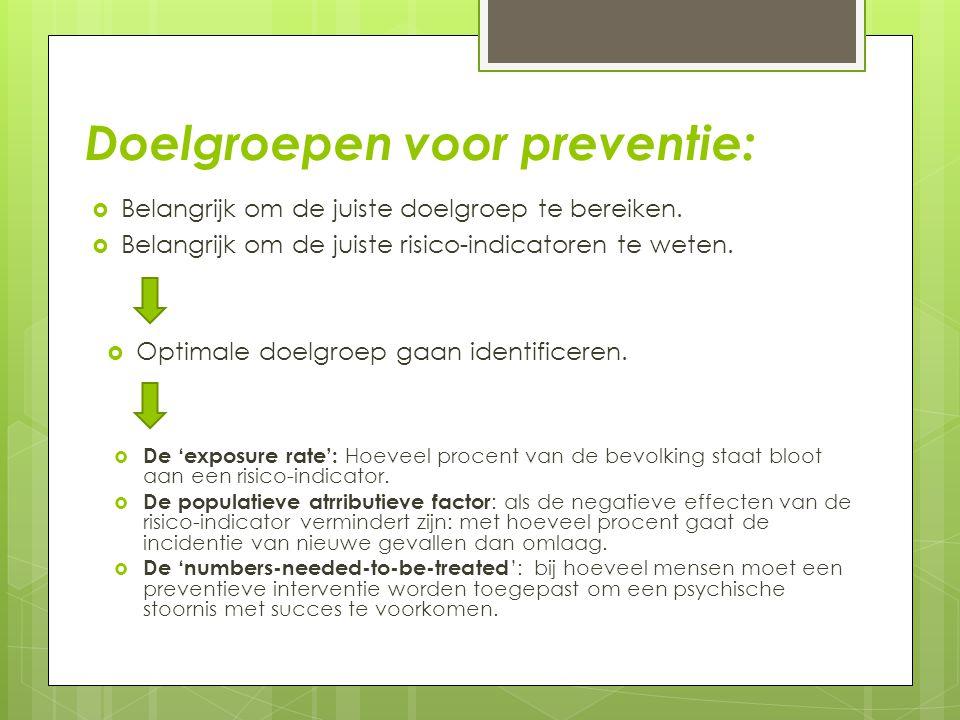 Doelgroepen voor preventie:
