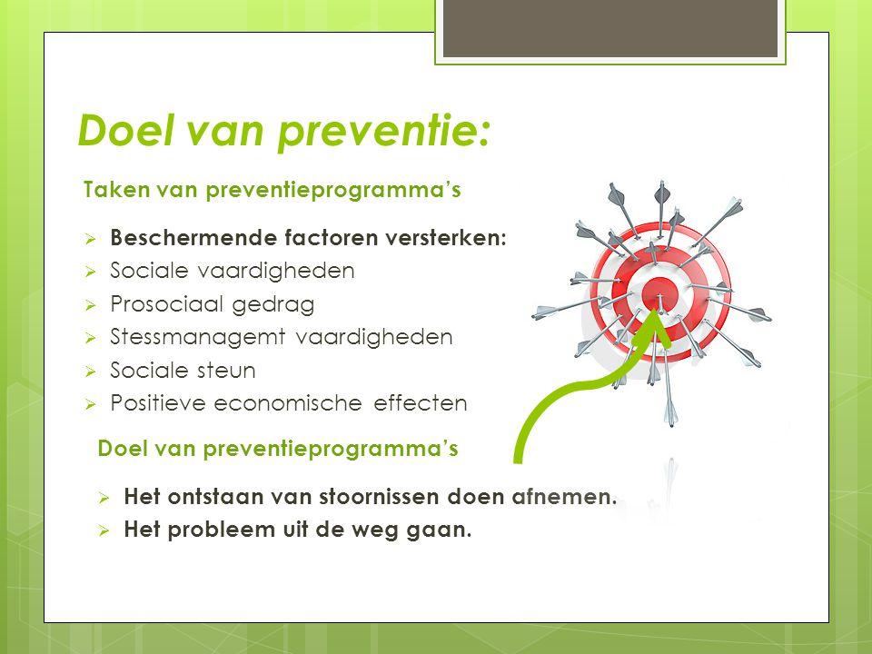 Doel van preventie: Taken van preventieprogramma's