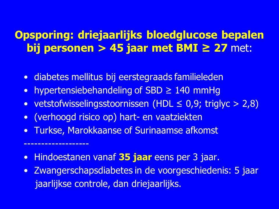 Opsporing: driejaarlijks bloedglucose bepalen bij personen > 45 jaar met BMI ≥ 27 met: