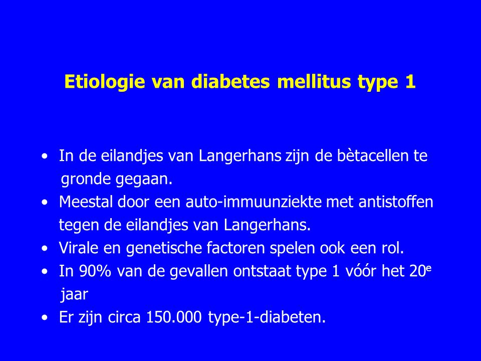 Etiologie van diabetes mellitus type 1