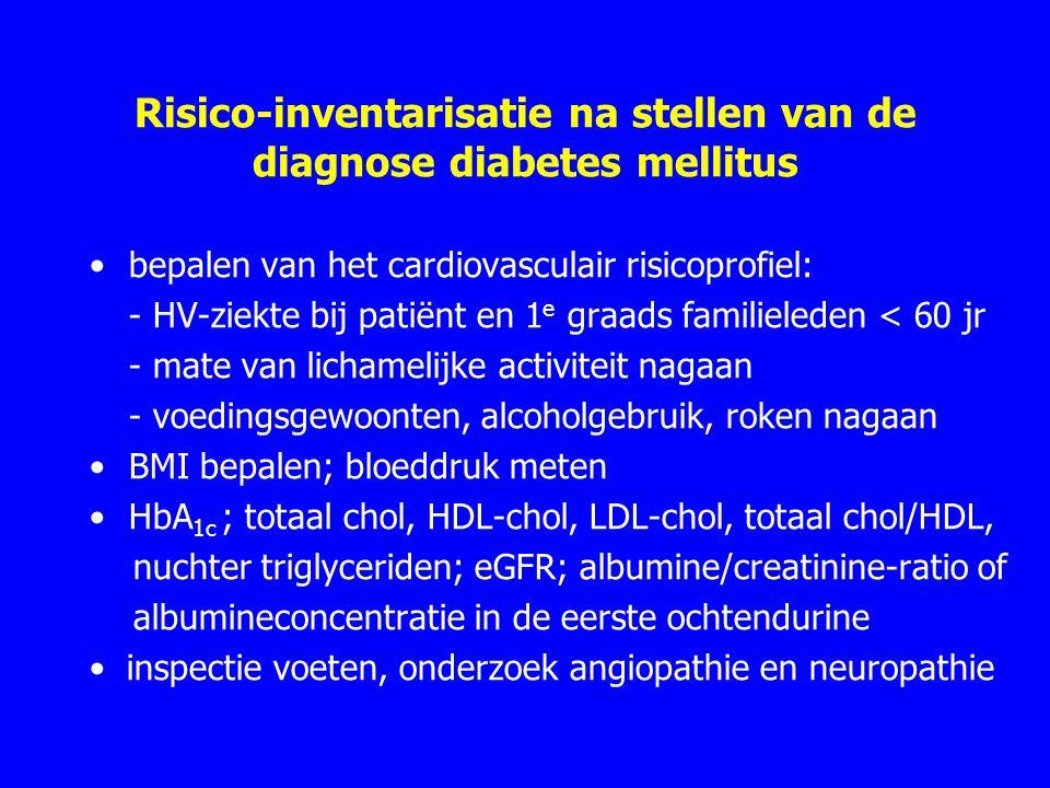 Risico-inventarisatie na stellen van de diagnose diabetes mellitus