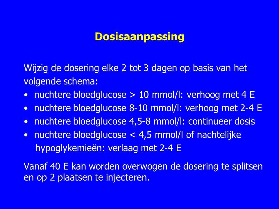 Dosisaanpassing Wijzig de dosering elke 2 tot 3 dagen op basis van het