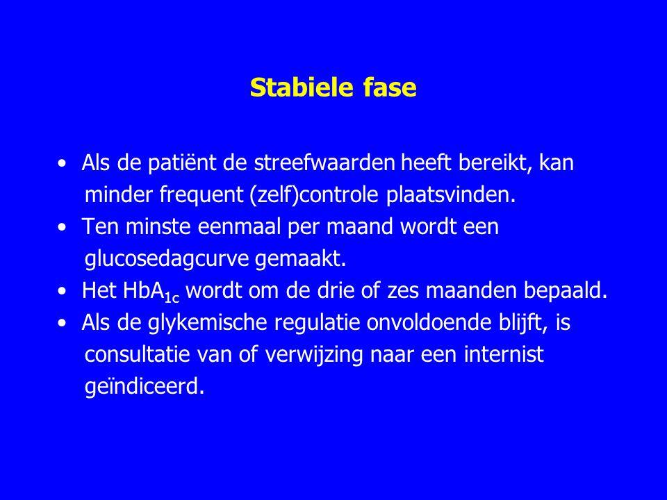 Stabiele fase Als de patiënt de streefwaarden heeft bereikt, kan