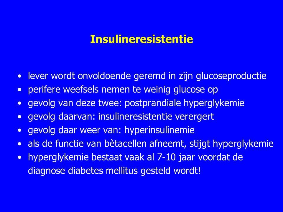 Insulineresistentie lever wordt onvoldoende geremd in zijn glucoseproductie. perifere weefsels nemen te weinig glucose op.