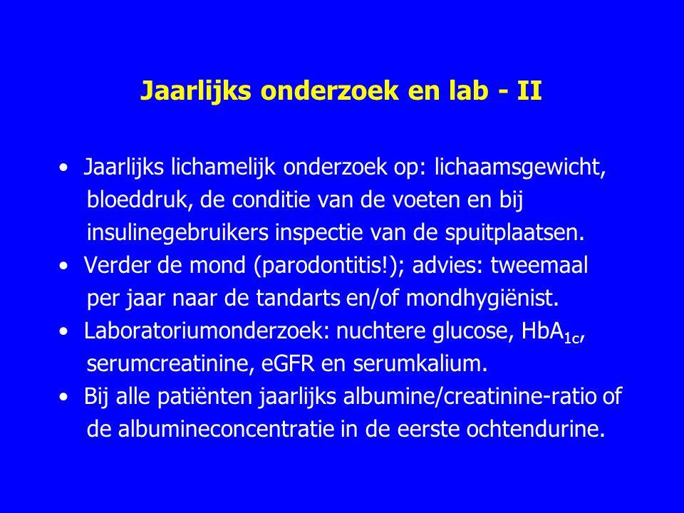 Jaarlijks onderzoek en lab - II