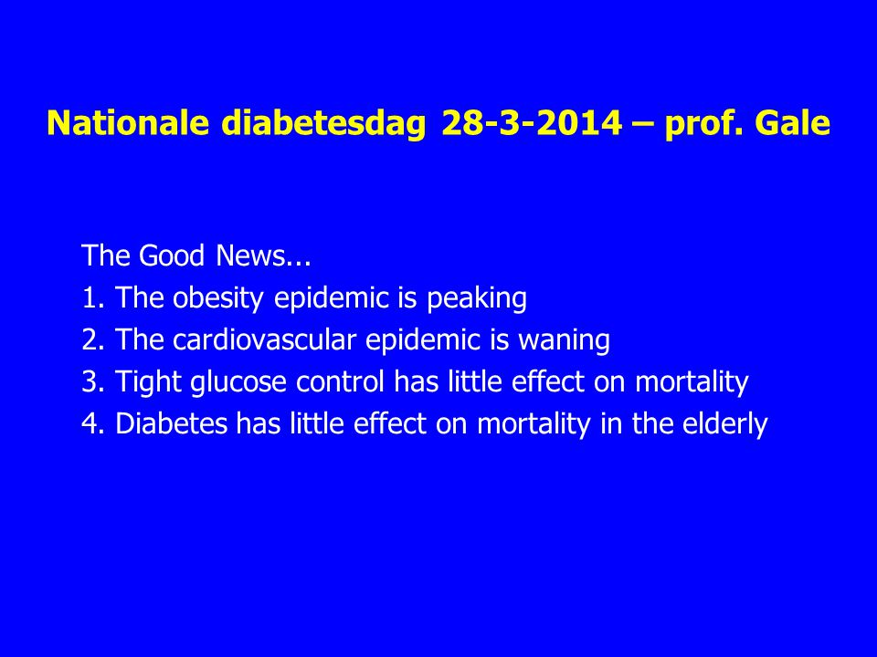 Nationale diabetesdag – prof. Gale