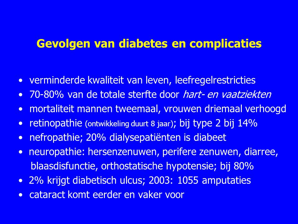 Gevolgen van diabetes en complicaties