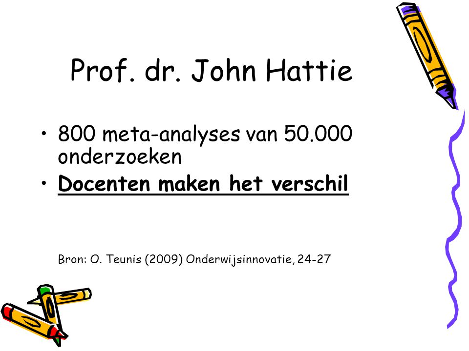 Prof. dr. John Hattie 800 meta-analyses van 50.000 onderzoeken