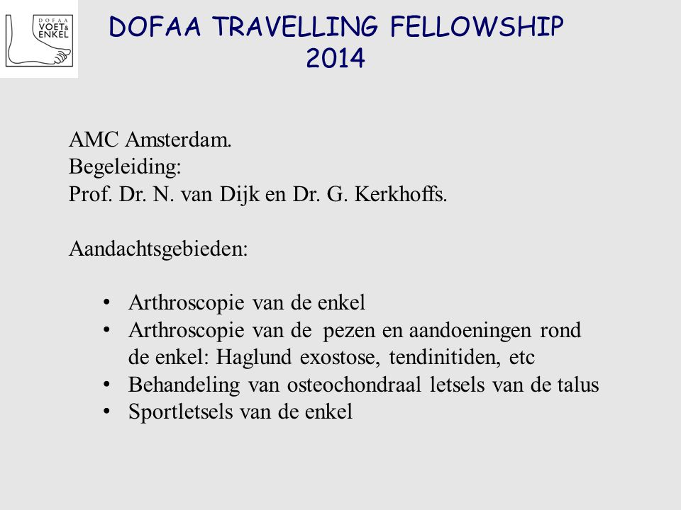 DOFAA TRAVELLING FELLOWSHIP 2014