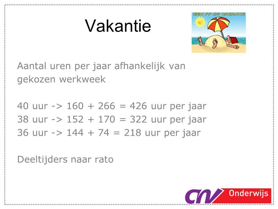 Vakantie Aantal uren per jaar afhankelijk van gekozen werkweek