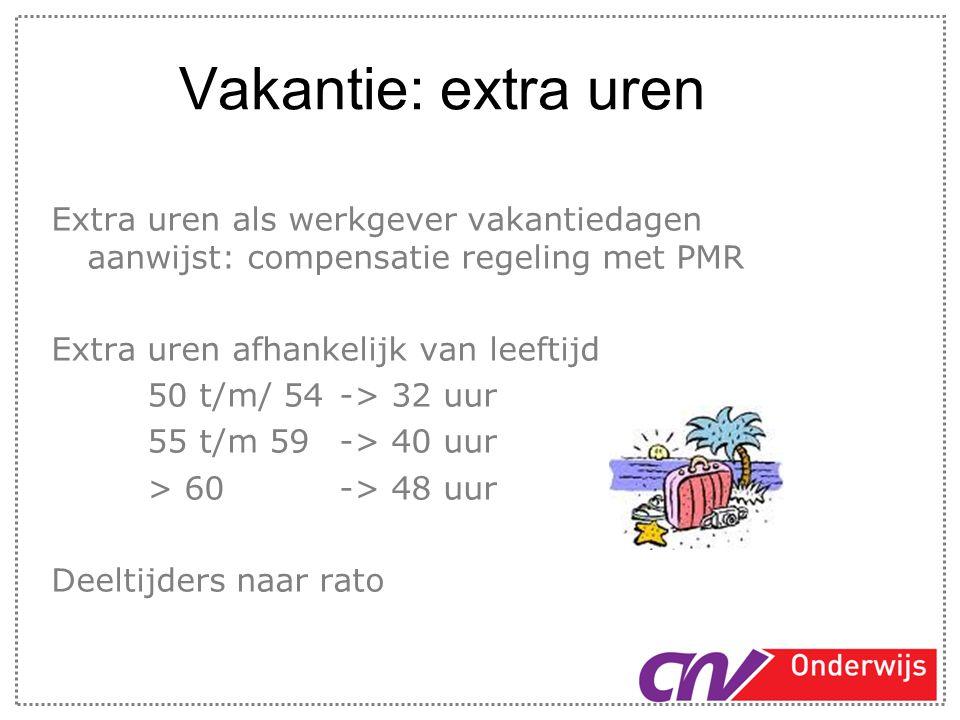 Vakantie: extra uren Extra uren als werkgever vakantiedagen aanwijst: compensatie regeling met PMR.