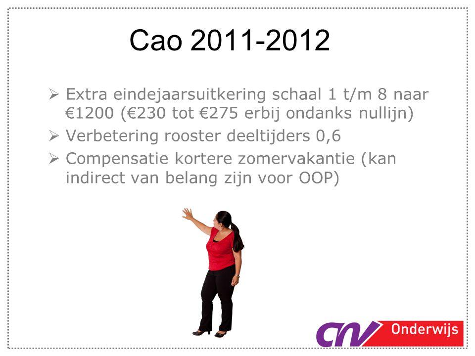 Cao 2011-2012 Extra eindejaarsuitkering schaal 1 t/m 8 naar €1200 (€230 tot €275 erbij ondanks nullijn)