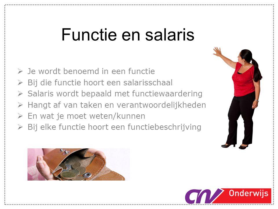 Functie en salaris Je wordt benoemd in een functie