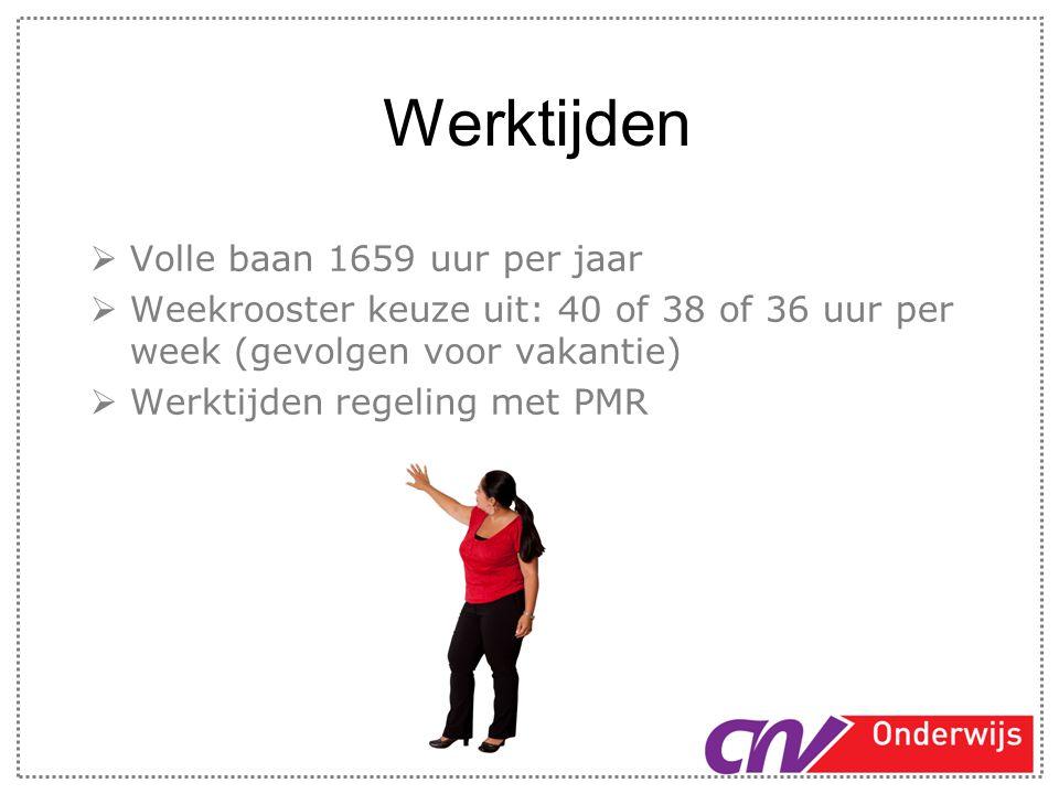 Werktijden Volle baan 1659 uur per jaar